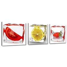 3-tlg. Leinwandbilder-Set Fruits Ice Cubes, Grafikdruck