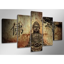 5-tlg. Leinwandbild-Set Buddha, Fotodruck