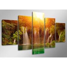 5-tlg. Leinwandbild-Set Waterfall, Fotodruck