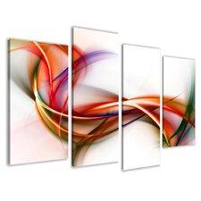 "4-tlg. Leinwandbilder-Set ""Colorful Stripes"", Grafikdruck"