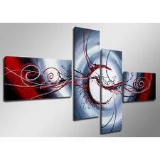 "4-tlg. Leinwandbilder-Set ""Curl"", Grafikdruck"