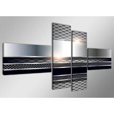 "4-tlg. Leinwandbilder-Set ""Carbon Steel"", Grafikdruck"