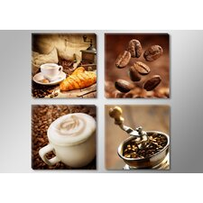 4-tlg. Leinwandbild-Set Coffee Fotodruck