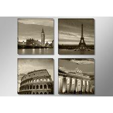 4-tlg. Leinwandbilder-Set Städte: London Paris Rome und Berlin, Fotodruck