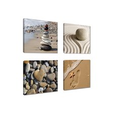 4-tlg. Leinwandbild-Set Spa Sand Fotodruck