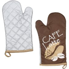 2-tlg. 2-tlg. Ofenhandschuh-Set Cafe Latte mit Aufhängeöse