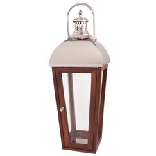 Anjou Stainless Steel and Wood Lantern