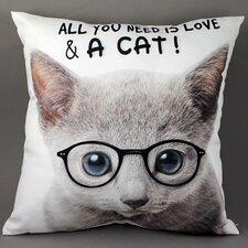 Zierkissen Katze mit Brille