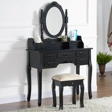 Drawers Dressing Table Set with Mirror