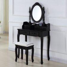Wooden Dressing Table Set with Mirror