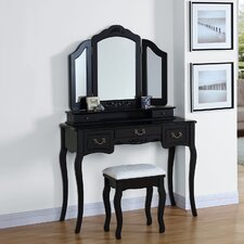 Wooden Drawer Dressing Table Set with Mirror