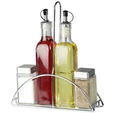 4 Piece Cruet Set with Stand