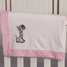 Giraffe Embroidered Minky Dot Blanket