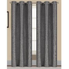 Willow Textured Woven Grommet Curtain Panel (Set of 2) (Set of 2)