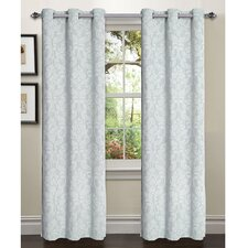 Elinor Linen Blend Jacquard Grommet Curtain Panel (Set of 2)