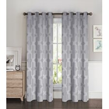 Drona Room Darkening Woven Jacquard Thermal Lined Grommet Curtain Panels (Set of 2)