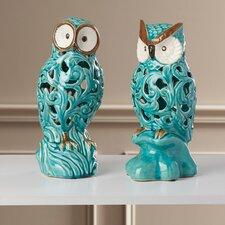 2 Piece Ceramic Owl Figurine Set