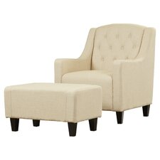 Simpson Upholstered Club Arm Chair with Ottoman