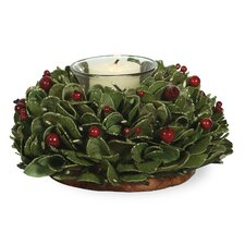 Holly Berries Candle Wreath Centerpiece