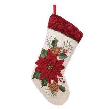 Handmade Hooked Poinsettia Stocking