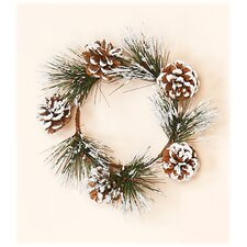 Snowy Pine and Cone Candle Ring (Set of 2)