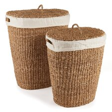 Seagrass Oval Hamper with Lining (Set of 2)
