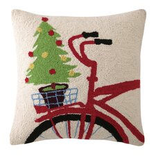 Christmas Tree on Bike Hook Wool Throw Pillow