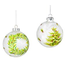 2 Piece Festive Tree and Wreath Painted Glass Ball Ornament Set