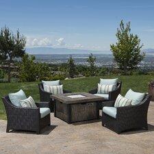 Prompton 5 Piece Fire Pit Set with Cushions