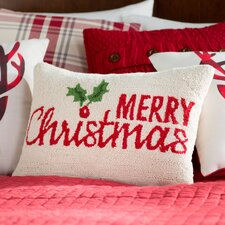 Merry Christmas Holly Hook Wool Lumbar Pillow