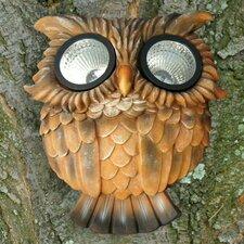 Solar Owl Outdoor Tree Face (Set of 2)