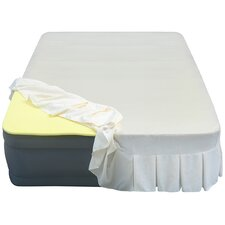 "Lustrous 20"" Air Mattress with 1"" Memory Foam Topper and Skirted Sheet Cover"