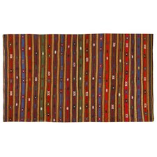 Kilim Hand-Woven Red/Blue Area Rug