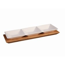 Sectional 2 Piece Rectangular Divided Serving Dish and Tray Set