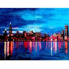 """Leinwandbild """"Chicago Skyline Bei Nacht"""" von M. Bleichner, Kunstdruck"""