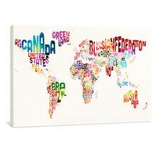 "Leinwandbild ""World Text Map"", Originalgemälde"
