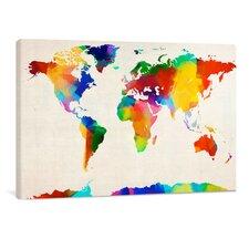 "Leinwandbild ""World Map Sponge Painting"", Originalgemälde"