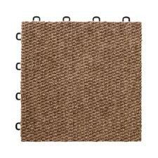 "12"" x 12""  Premium Interlocking Basement Floor Carpet Tile in Brown"