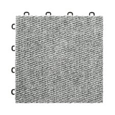 "12"" x 12""  Premium Interlocking Basement Floor Carpet Tile in Gray"