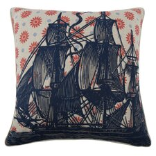 Vineyard Ship Flax Throw Pillow