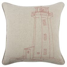 Embroidered Lighthouse Flax Throw Pillow