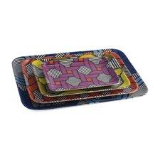 Geometric 4 Piece Serving Platter Set