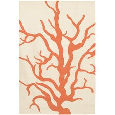 Flatweave Dhurrie Area Rug Cream/Orange Coral Area Rug