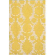 Flatweave Dhurrie Area Rug Yellow/Cream Flock Area Rug