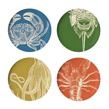 "Sea Life 11"" Melamine Dinner Plate 4 Piece Set (Set of 4)"