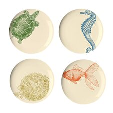 "Sea Life 9"" Melamine Dessert Plate 4 Piece Set (Set of 4)"
