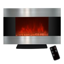 Freestanding Stainless Steel Electric Fireplace