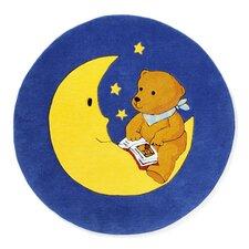 Handgewebter Motivteppich Der Mondbär in Blau