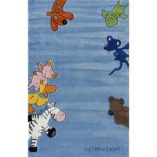 Handgewebter Motivteppich Die Lieben Sieben in Blau