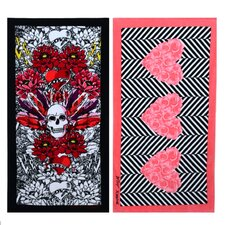 Rose Hearts and Tribal Skull 2 Piece Towel Set